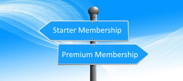 Sign showing Starter and Premium Membership directions