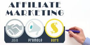 Affiliate marketing. Affiliate program scheme, performance-based marketing image
