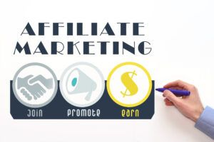 Affiliate marketing. Affiliate program scheme, performance-based marketing image